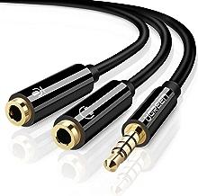 UGREEN Adaptador Divisor de Mic y Audio 3.5mm Macho a 2 Hembra para Auriculares de Clavijas de Mic y Audio Separadas, Mandos de Xbox, Mandos de PS4, Chapado en Oro (Negro)