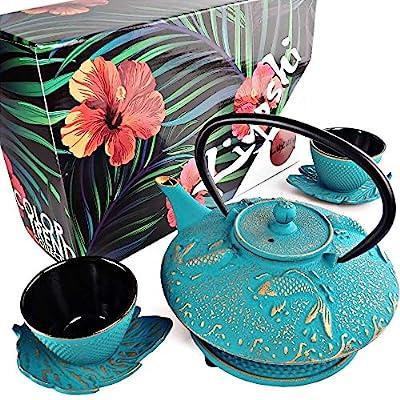 "KIYOSHI Luxury 7PC Japanese Tea Set.""Turquoise Koi"" Cast Iron Tea Pot with 2 Tea Cups, 2 Saucers, Loose Leaf Tea Infuser and Teapot Trivet. Ceremonial Matcha Accessories"
