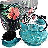 KIYOSHI Luxury 7PC Japanese Tea Set.'Turquoise Koi' Cast Iron Tea Pot with 2 Tea Cups, 2 Saucers, Loose Leaf Tea Infuser and Teapot Trivet. Ceremonial Matcha Accessories