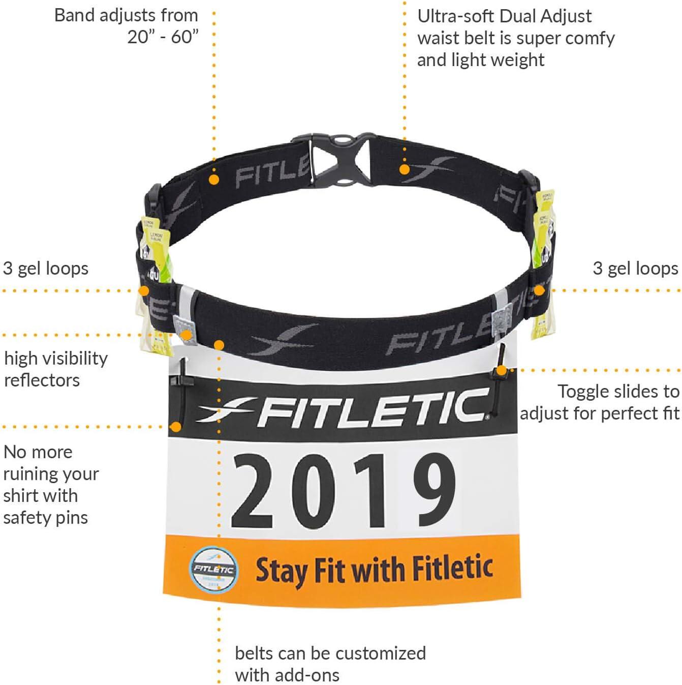Fitletic Race Bib Belt with Gel Loops 5k 10k Race Number Belt for Triathlon Marathon Ironman RN06 Race 2 Trail Running
