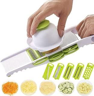 GuDoQi Vegetable Fruit Slicer Multifunctional Stainless Steel Blades Chopper 5 in 1 Adjustable Fruit Vegetable Grater with Hand Protector
