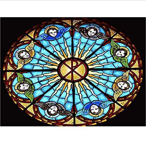 Houten puzzel Klassieke legpuzzels 1000 stukjes Volwassenen Kerk Gebrandschilderd raam Venster Landschap Diy Collectibles Modern interieur Uniek cadeau-75X50Cm