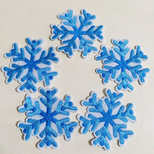 10pcs Blue Snowflake Snow Flake Winter Iron On Sew On Cloth Embroidered Patches Appliques Machine Embroidery Needlecraft Sewing Projects