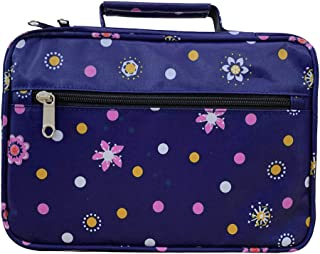 Bible Cover Case Carrier Carrying Bag with Handles for Women Ladies Teens Floral Pattern Flower Print Scripture Tote Good Book Holder Organizer (1-Purple)