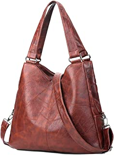 Women's Soft Faux Leather Tote Shoulder Bag - Big Capacity Hobo Crossbody Handbag with 3 Compartments for Work Travel