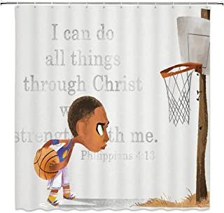 Boy Sport Shower Curtain Basketball Inspirational Motto Decor Kid Holding Basketball Hoop Bible Backdrop,Polyester Bathroom Set Curtains 70x70 Inch with Hooks Ivory Brown