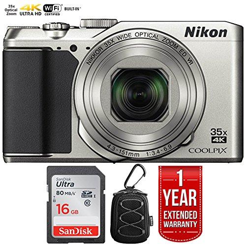 Nikon 26505B COOLPIX A900 20MP 4K WiFi Digital Camera w/35x Optical Zoom Silver + 16GB Bundle with 1 Year Extended Warranty - (Renewed)