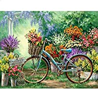 クロスステッチ刺繡スターターキット刻印クロスステッチキット11ctカラフルな花の自転車16x20インチ初心者大人DIY刺繡クロスステッチ用品針仕事家の装飾