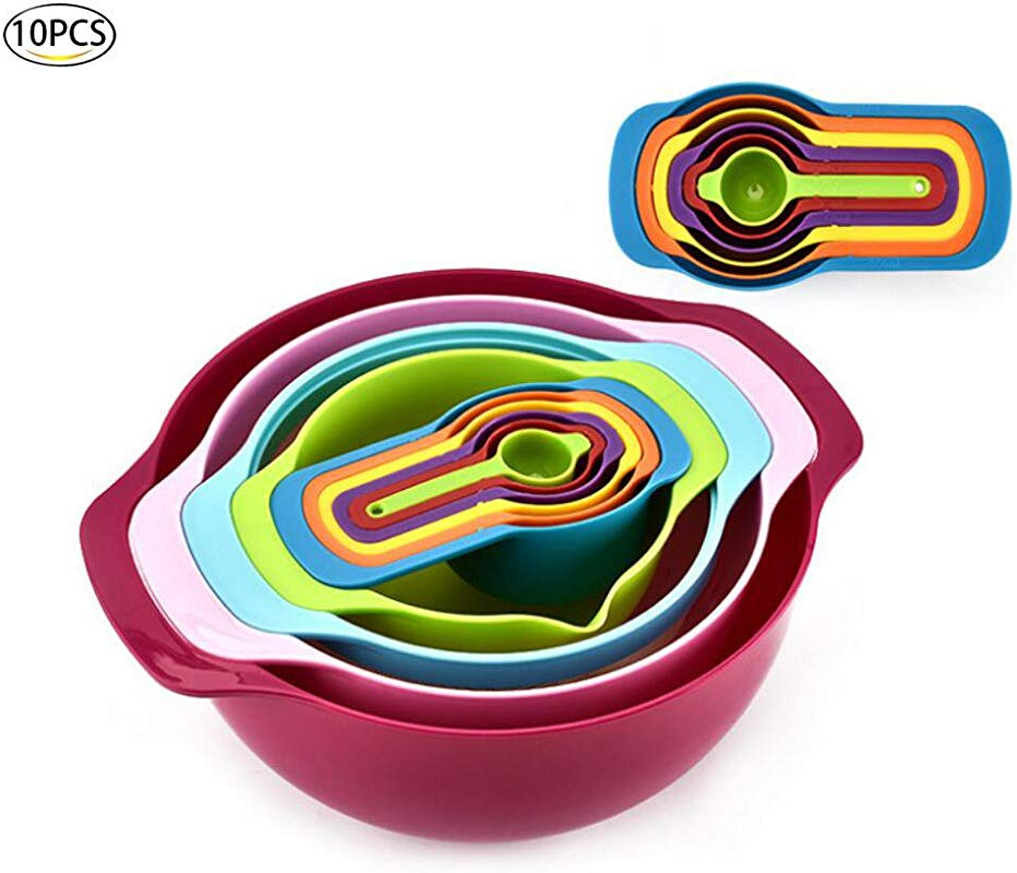 Healthcom Professional Baking Set Mixing Bowl Set 10 PCS Mix And Measure Nesting Colorful Measuring Cups Spoons Plastic Stackable Nested Mixing Bowls
