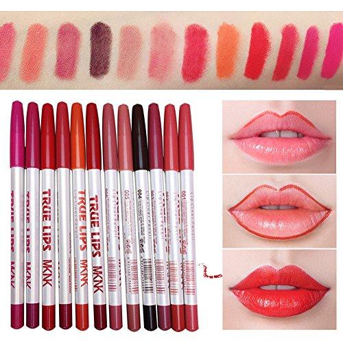 Kybbe 12 Pcs Kit Doublure À Lèvres Longue Durée Étanche Lèvres Crayon Crayon De Maquillage Outils Cosmétique Ensemble