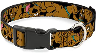 Buckle-Down Scooby Doo Stacked CloseUp Black Plastic Clip Collar, Wide Large/18-32