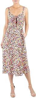 Julia Jordan Women's Floral Print Front Tie Sweatheart Sleeveless Midi Dress