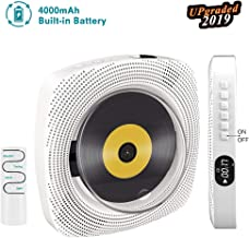 2019 Portable CD Player, Rechargeable Wall Mountable Bluetooth MP3 Music Player Home Audio Boombox with Remote Control USB FM Radio 4000mAh Battery HiFi Speakers Headphone Jack AUX Cable, Gift for Kid