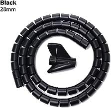 Spiral Tube Organizer, HDPE Wrap Clip Winder 1.5m Length Cord Protector Flexible Spiral Tube Wire Organizer(28mm,black)