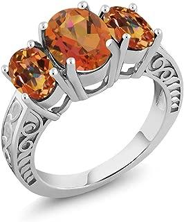 3.40 Ct Twilight Orange Mystic Quartz Ecstasy Mystic Topaz 925 Sterling Silver 3-Stone Ring