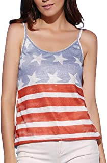 VESKRE Women's American Flag Tank Top Print Camic T Shirt Sleeveless Independence Day Blouse Tee Dress Vest