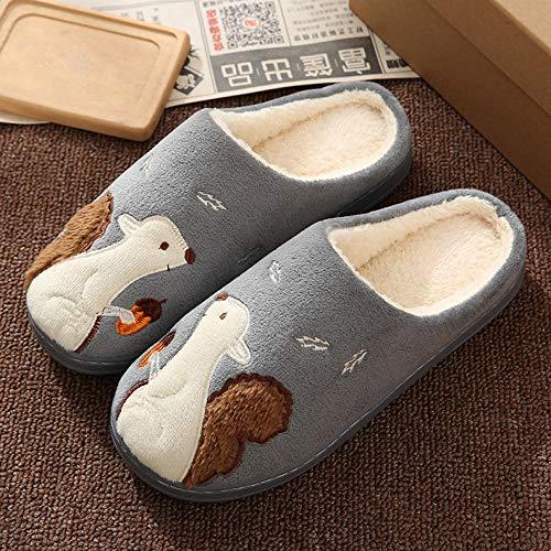 Hedgehog, Squirrel, Indoor Wear-Resistant Warm Waterproof Men Women Winter Slippers Warm Indoor Home Fluffy Slippers Shoes@Squirrel Dark Gray_42-43 (Suitable for 41-42)
