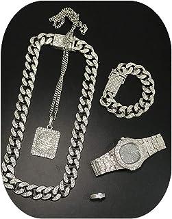 Men Watch Iced Out Cuban Hip Hop Watch &Necklace &Pendant & Bracelet &Ring Combo Set Pendant Rapper Men's Jewelry Set