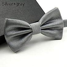 Piero Hombres Niños Corbatas para Hombres Corbata Ajustable Hecha A Mano Corbata Hombre Niño Niños Corbatas Corbata Pajarita, Gris Plata