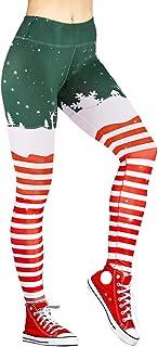 Yaavii Leggings, Weihnachten, Damen, Sport-Leggings, hohe Taille, elastisch, mit Aufdruck
