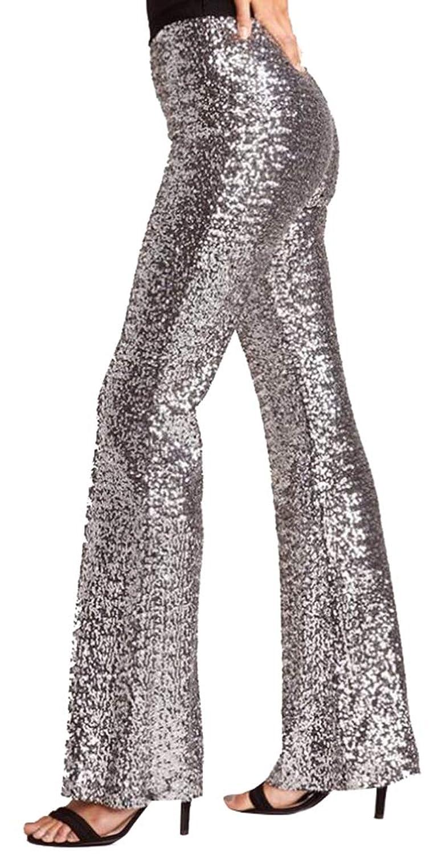 maweisong 女性ファッションシャイニングカジュアルワイド脚パンツスパンコールズボン
