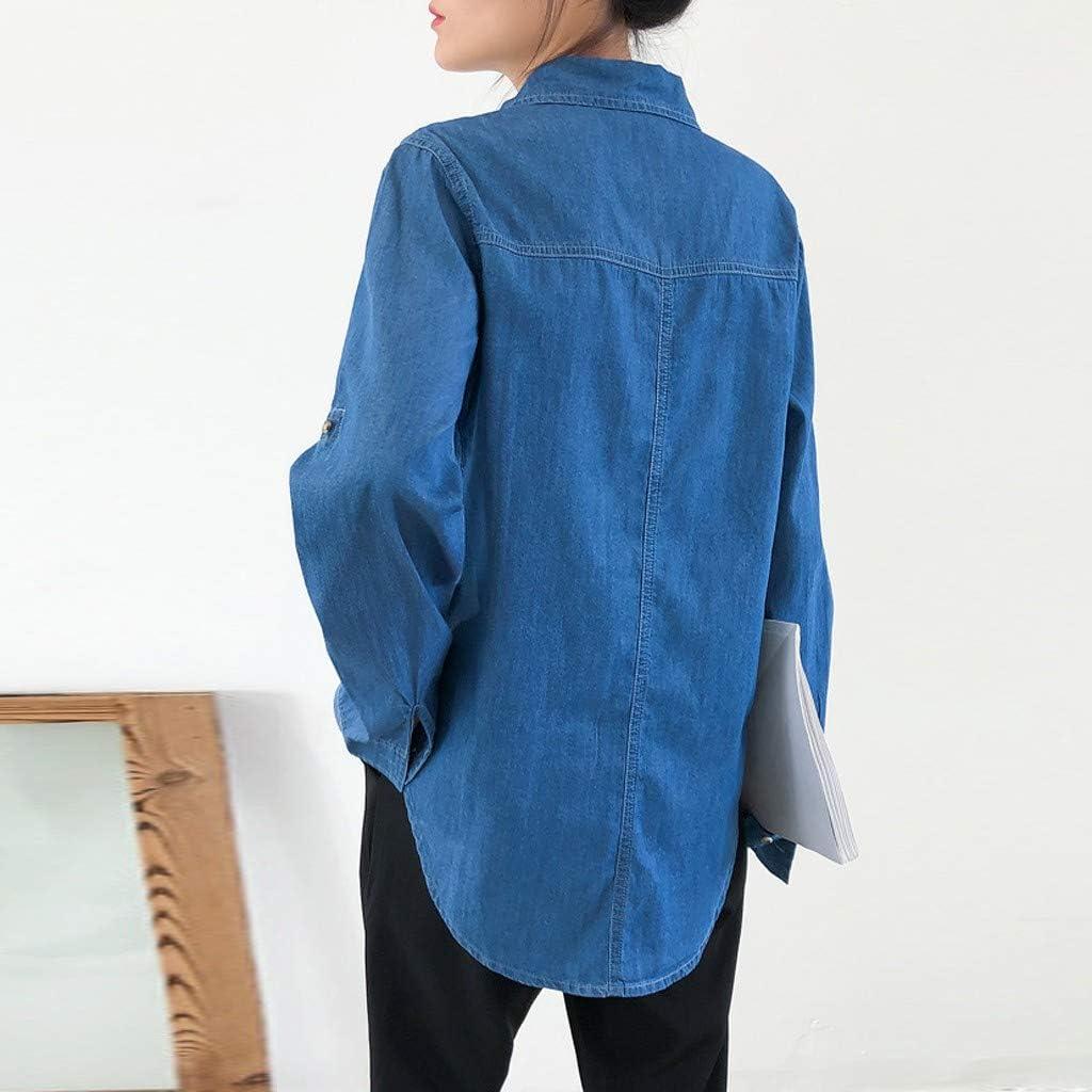 NREALY suéter Womens Fashion Long Sleeve Shirt Denim Casual Loose Blouse Button Shirt
