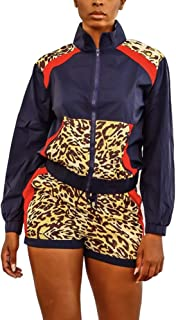 CQWL Women 2 Piece Outfits Sexy Leopard Print Stitching Windbreaker Shorts Tracksuit