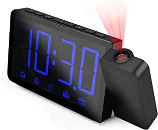 Projection Clock with AM/FM Radio, Digital Alarm Clock with Large LED Display & 4 Dimmer,180°Projector, Dual Alarm, 12/24 ...
