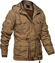 MAGCOMSEN Men`s Winter Cargo Jacket with Multi Pockets Military Jackets Cotton Parka Jacket with Removable Hood