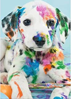 MXJSUA DIY 5D Diamond Painting by Number Kits Round Drill Rhinestone Pictures Arts Craft for Home Wall Decor Dalmatian Dog 12x16In