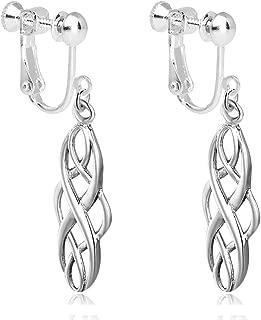 S925 Sterling Silver Dangle Earrings Clip on Alloy Ear Irish Celtic Knot Vintage for Girl Gift Box