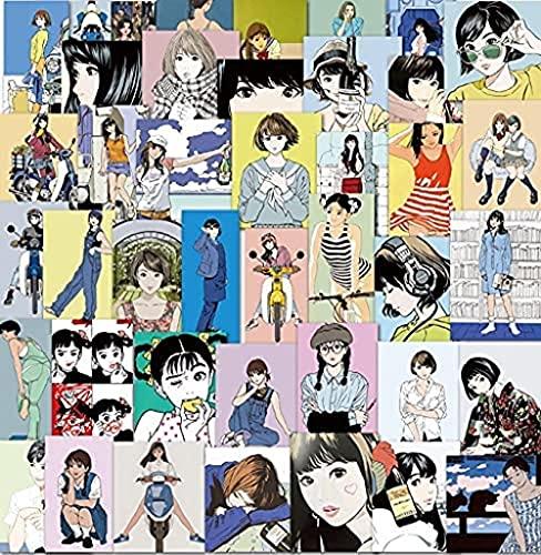 Etiqueta engomada de la Muchacha de la vitalidad Japonesa Retro nostálgico ilustración Graffiti...