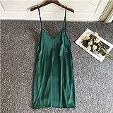 CIDCIJN Camisón De Pijama De Mujer - Sexy Sleepwear Suave Satinado Borgoña Vestido De Noche De Seda Sintética Mujeres Espaguetis Correa Camisón Profundo V Lencería Ropa De Casa, Verde, XL