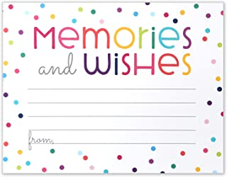 Memories and Wishes - Rainbow Graduation Retirement or Birthday Party Memory Card - Flat Card Size 4.25x5.5 Inches - Pack of 40