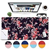 Dual-Sided Desk Pad 35.4 x 17.7 inch Mouse Pad, Ultra Soft PU Leather Mousepad with Sewing Reinforcement Edge, Non-Slip Desk Blotter Protector for Home and Office
