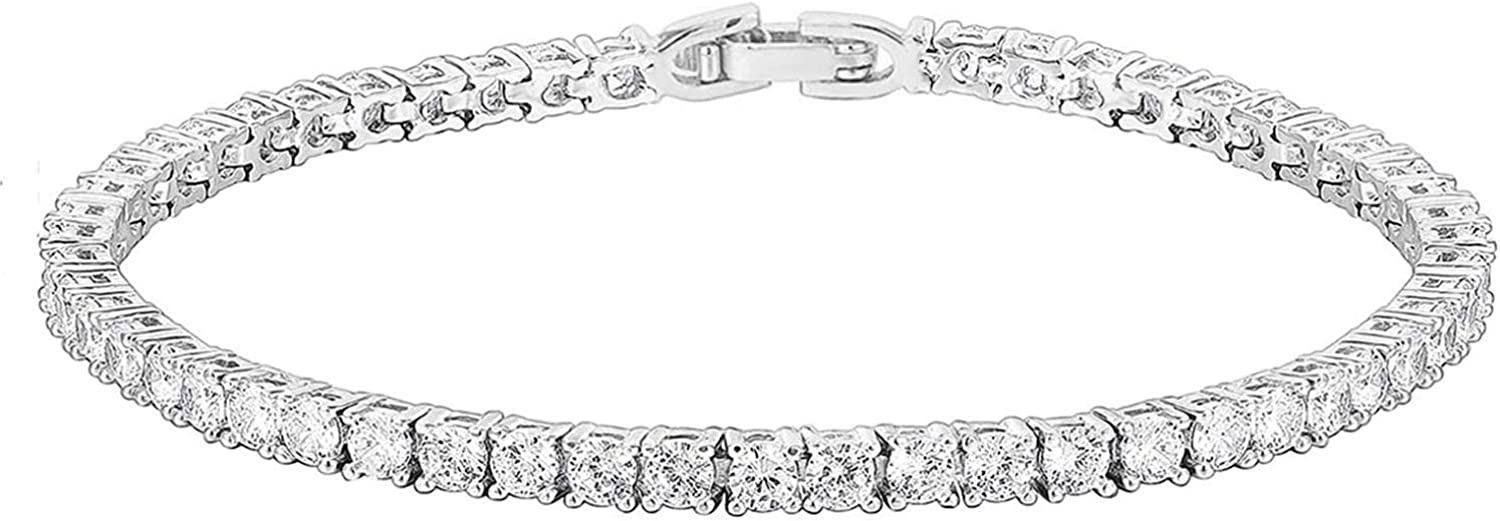 PAVOI 14K Gold Plated 3mm Classic Dealing Max 53% OFF full price reduction Bracelet Tennis Zirconia Cubic