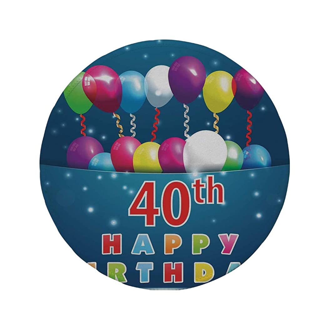 Non-Slip Rubber Round Mouse Pad,40th Birthday Decorations,Special Day Surprise Occasion Party Colorful Balloons Ribbons,Multicolor,7.87