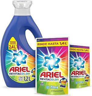 Ariel Revitacolor Detergente Líquido 1.2L con 2 Refills de