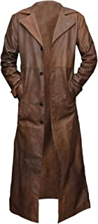 Mens Detective Style Long Length Brown Faux Leather Over Coat