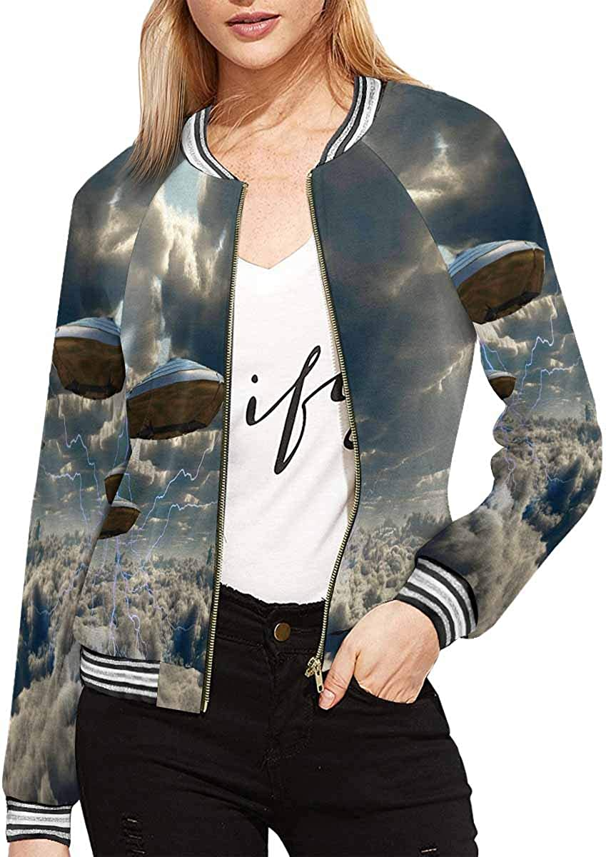 INTERESTPRINT Flying by The Lake Women's Jacket Coat Zipper Outw Over item handling Credence ☆