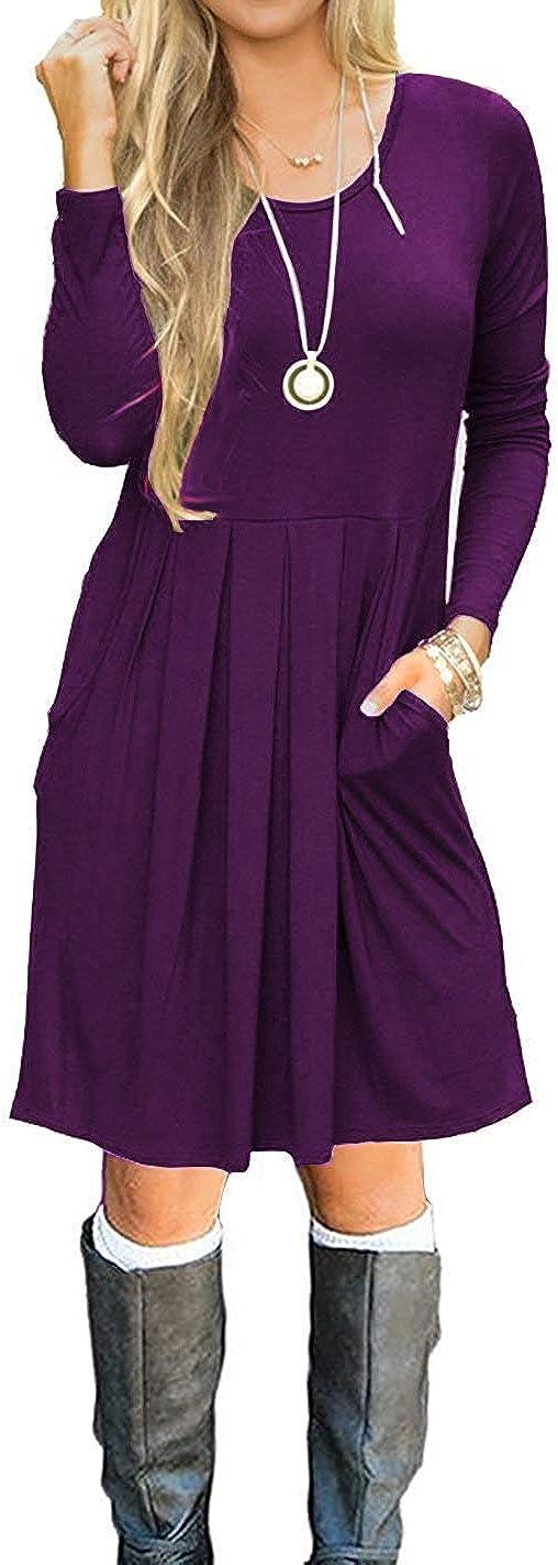 Basic Faith Women's Long Sleeve Pleated Loose Swing Casual Dress with Pockets Knee Length