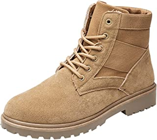 Fauean Men'S Outdoor Matte Leather Boots Trend England Style Suede High-Slip Skid Boots