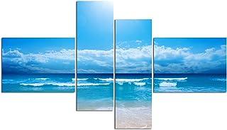 "Art Wall Picture Impressionist Blue Ocean Seacape Landscape Clear Sea On Canvas Prints Painting Home Decor (48"" W x 28"" H (16""x12"" x2pcs, 8""x24"" x2pcs) Framed, Clear Blue)"