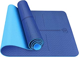 Besmall Yoga Mat Fitness Exercise Mat - Classic 1/4 inch Eco Friendly Yoga Mat w/Alignment Lines, TPE Non-Slip Workout Mat...