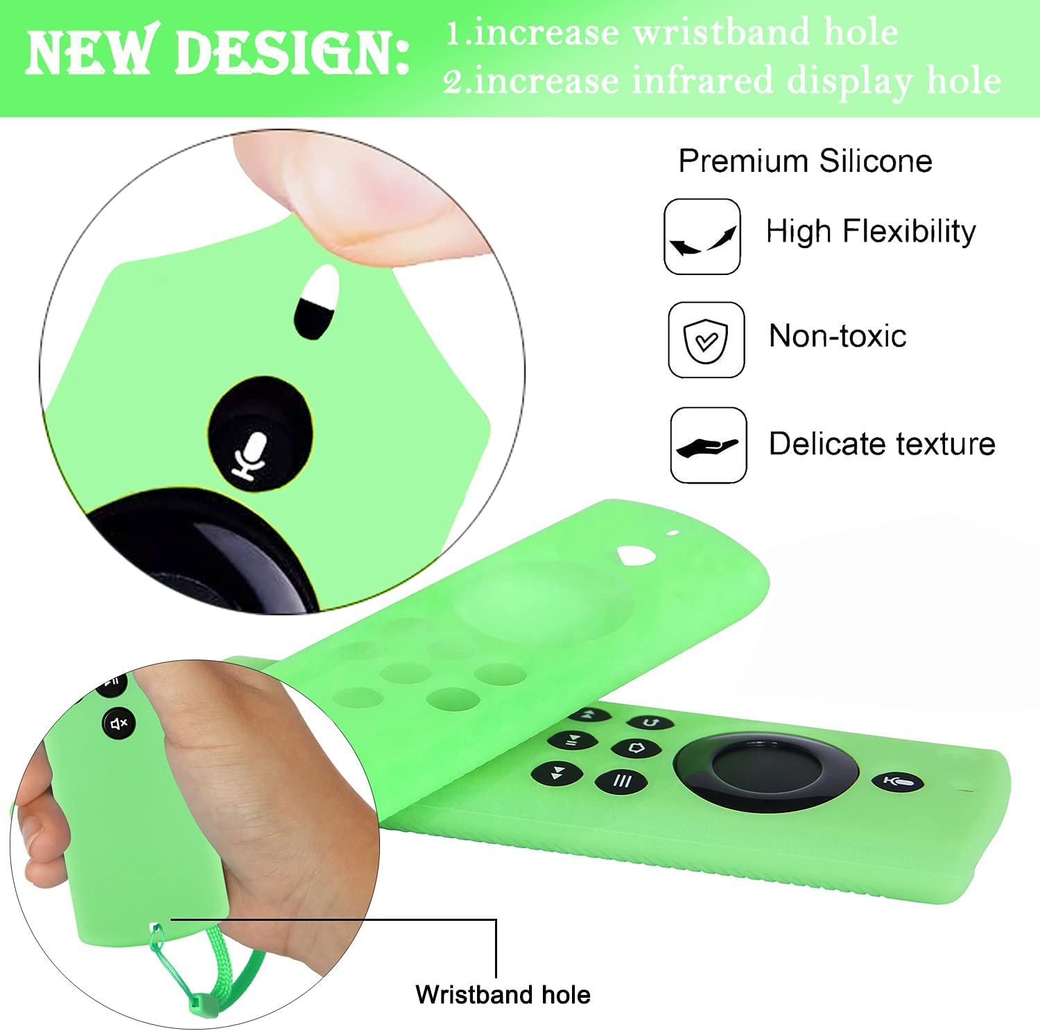 Pinowu Firestick Lite Remote Cover (2pcs) Compatible with 2020 Release TV Stick Lite, Firetv Remote Lite Silicone Cover Case with Lanyard (Green Glow & Turquoise Not Glow)