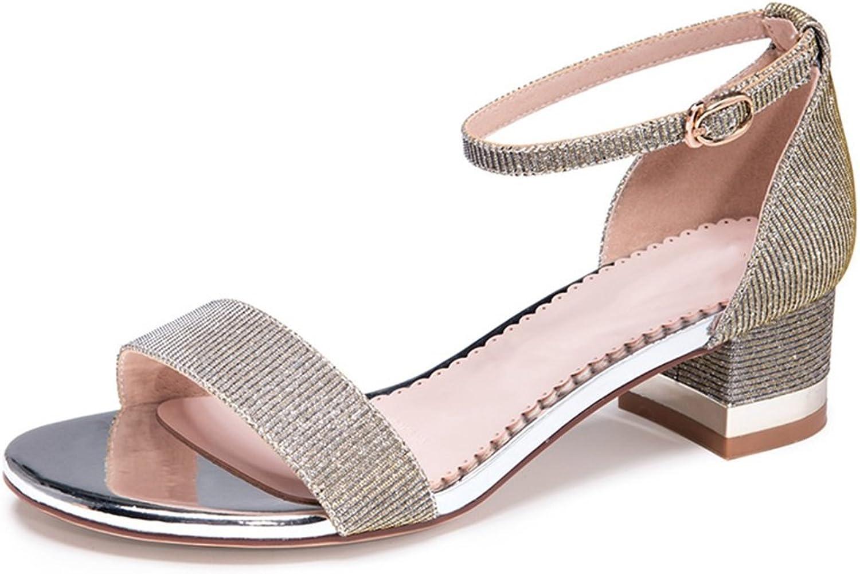 JIANXIN Damen Frühjahr Und Sommer Mode-Statement-Sandalen Mit Klobigen Ferse Ferse Schuhe. (Farbe   Grau, Größe   37)  70% Rabatt
