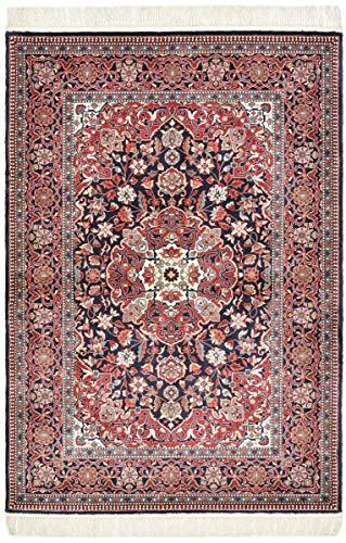 Nain Trading China Keshan Seide 165x112 Orientteppich Teppich Beige/Rosa Handgeknüpft China