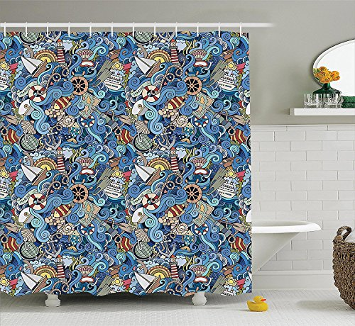 Ambesonne Beach Tropical Ocean Shower Curtain Nautical Decor, Seashells Seahorse Corals Fish Globe Maps Wavy Ocean Abstract Design, Fabric Bathroom Set, 84 Inches Extra Long, Teal Blue Yellow Beige