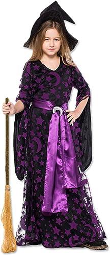 CJJC Halloween Kinder Cosplay Kleidung mädchen Hexen Kostüm Kostüm Party Lila Gedruckt Kleider Mit Hut