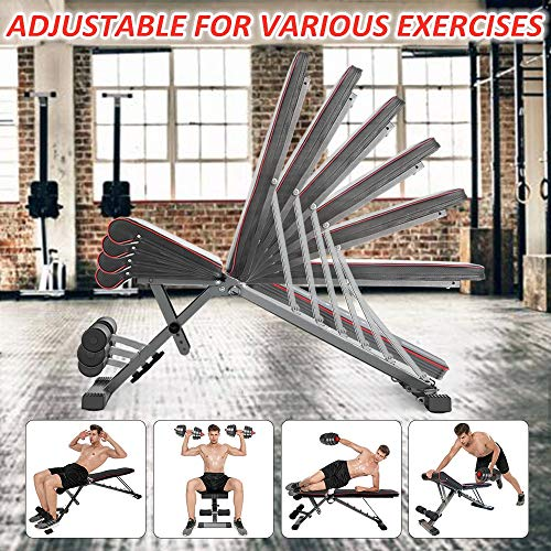 Yoleo Adjustable Folding Weight Bench (2021 Special Edition), 330lbs Weight Capacity, Decline/Incline/Flat, Workout Bench for Home Gym, Strength Training Exercise